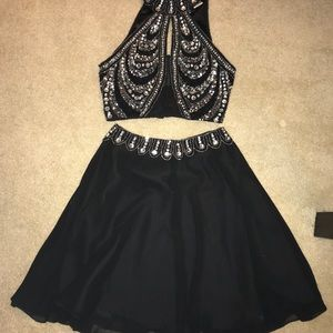 Black and silver sequin prom or formal gown